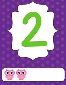 Polka Dot and Owl Number Posters 0-20