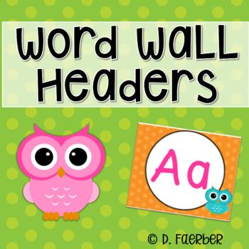 Polka Dot and Owl Word Wall Headers