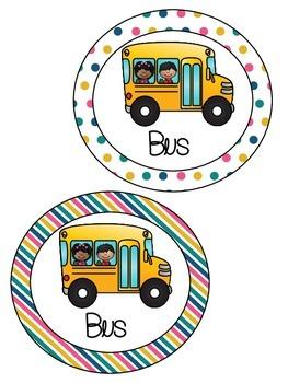 Polka Dot and Stripes Transportation Circles