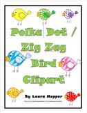 Polka Dot and Zig Zag Bird Clip Art