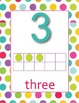 0-20 Polka Dot background Number Posters with dot blocks and spelling of digits
