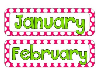 Polka Dot Calendar Decor {pink and green}