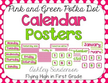 Polka Dot Calendar Decor {pink and green}