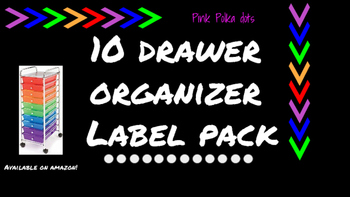 Polka Dots Labels for 10-Drawer Organizer (Pink and Black)