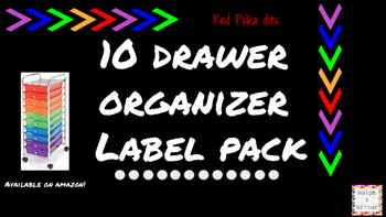 Polka Dots Labels for 10-Drawer Organizer (Red and Black)