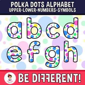 Polka Dots Alphabet Clipart Letters ENG.-SPAN. (Upper-Lower-Numb.-Symbols)