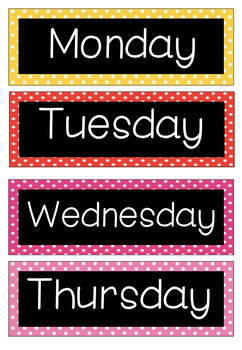 Polka Dots Calendar Cards