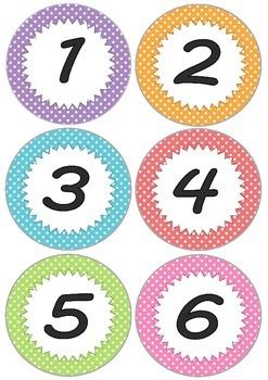 Polka Dots Calendar Numbers