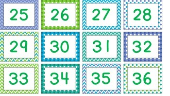 Polka Dots, Chevron, Blue, Green Classroom Labels