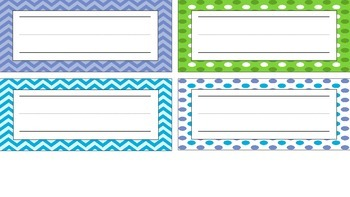 Polka Dots, Chevron, Blue, Green Desk Name Plates
