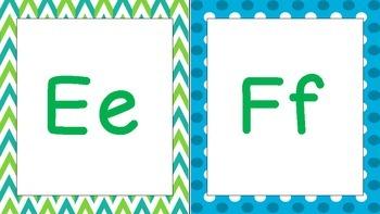 Polka Dots, Chevron, Blue, and Green Print Alphabet