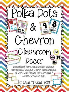 Polka Dots & Chevron Classroom Decor Pack