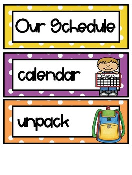Polka Dots Class Schedule Cards