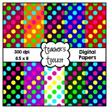 Polka Dots Digital Background Papers {8.5 x 11} Clip Art CU OK