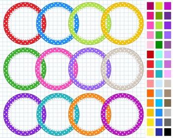 Polka Dots Digital Frames Pack, Frames Clipart, 43 Frames