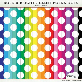 Polka Dots Digital Paper - Bold and Bright  Giant Polka Dots