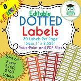 Polka Dots Labels Editable Classroom Notebook Folder Name Tag (FALL, Avery 5160)