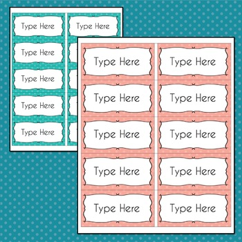 Polka Dots Labels Editable Classroom Notebook (PARTY Colors, Avery 5163, 8163)