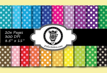 Polka Dots Paper Pack - 20 pages - Ok for Commercial