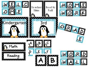 Polka Dots & Penguins Classroom Decor Black and Aqua