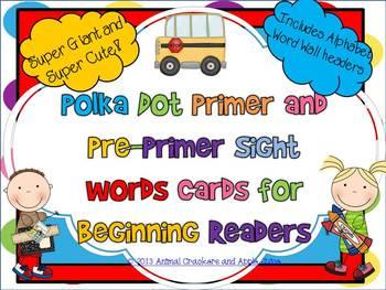 Polka Dots Sight Word Cards: Pre-Primer and Primer Set
