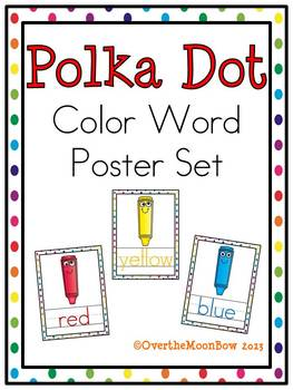 Polka Dots & Silly Crayons Color Words Poster Set