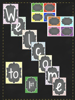 Polka Dots Welcome sign and name cards for classroom door