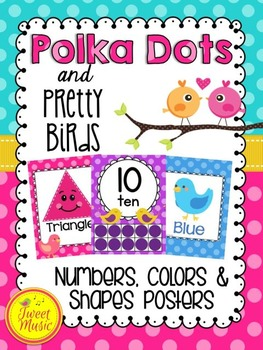 Numbers, Colors & Shapes Posters {Polka Dots & Pretty Birds Classroom Decor}
