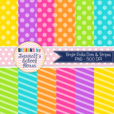 Polka Dots and Stripes Bright Digital Paper Pack {Commercial Use}