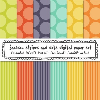 Polka Dots and Stripes Digital Backgrounds: Red, Orange, Yellow, Lime, Blue