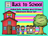 Polka Dots and Stripes Mega with Apple Accents Classroom Organization KIt