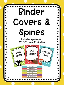 Polka Dots and Woodland Friends Editable Binder Covers and Spines