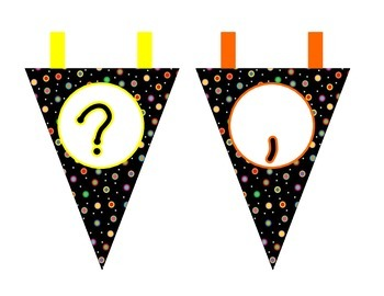 Colored Polka Dots on Black Pennant Banners