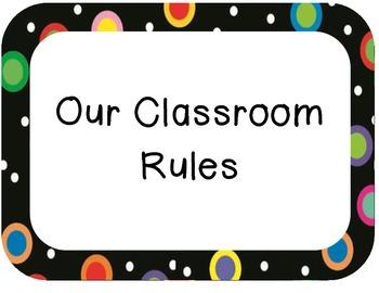 Colored Polka Dots on Black Rule Display