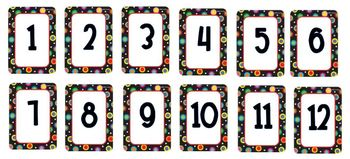 Colored Polka Dots on Black Themed Calendar Numbers