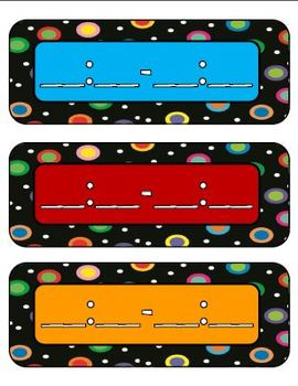 Colored Polka Dots on Black Themed Daily Schedule