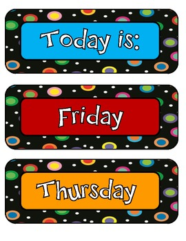 Colored Polka Dots on Black Themed Days of the Week