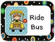 Colored Polka Dots on Black Themed Transportation Chart