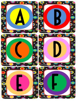 Colored Polka Dots on Black Themed Word Wall Letters