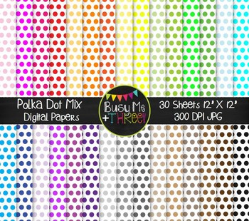 Polka Dots on White Mix Digital Papers {Commercial Use Digital Graphics}