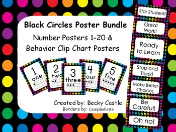 Polka Dots w/ Black Background Numbers 1-20 & Behavior Clip Chart Posters