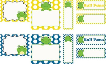 Polka Dots with Frogs (5 colors options) ~ Labels, Tags and Passes {Editable}