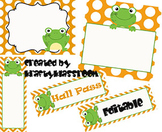 Polka Dots with Frogs (5 colors options) ~ Labels, Tags an
