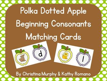 Polka Dotted Apple Beginning Consonant Matching Game