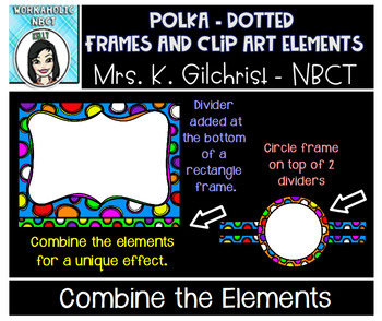 Polka-Dotted Clip Art Elements Set Frames and More!