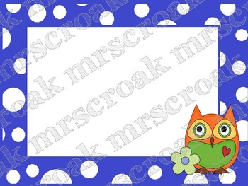 Labels - Owls on blue & white polka dots