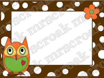 Labels - Owls on brown & white polka dots