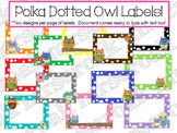 Label Savings Package: Owls on polka dots, 10 per page