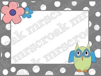 Labels - Owls on gray & white polka dots