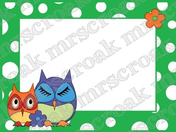 Labels - Owls on green & white polka dots